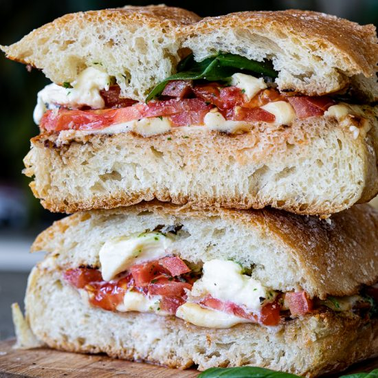 Melted Caprese sandwich