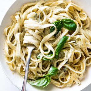 Pasta with basil cream sauce