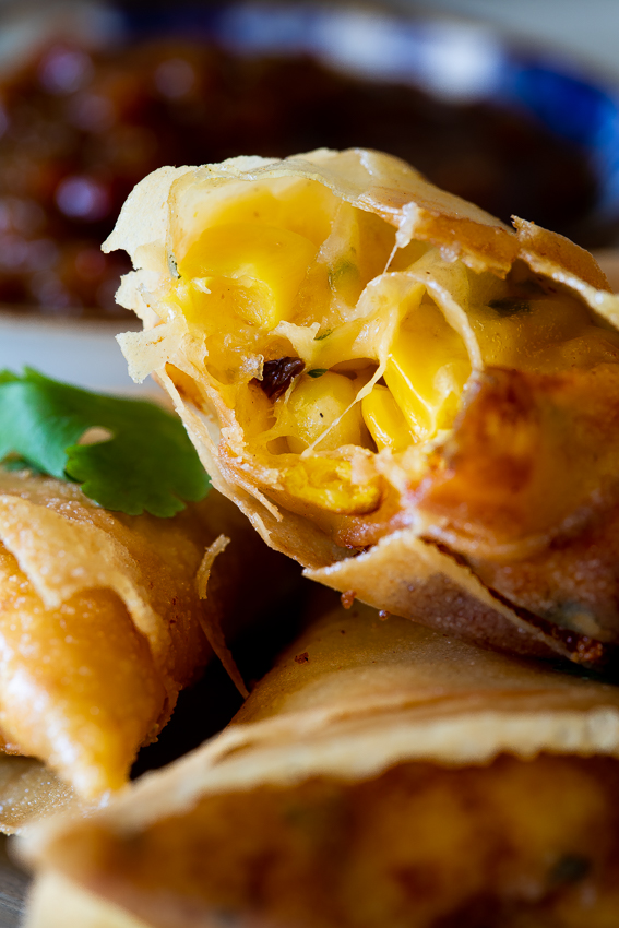 Cheese and corn samosas