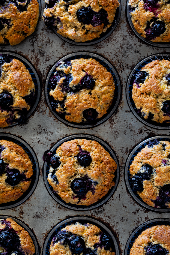 Baked healthy blueberry muffins