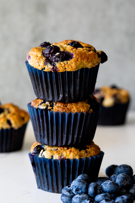 Easy healthy blueberry muffins on white surface