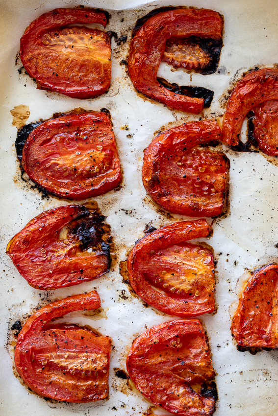 Slow roasted tomatoes for BLT sandwiches.
