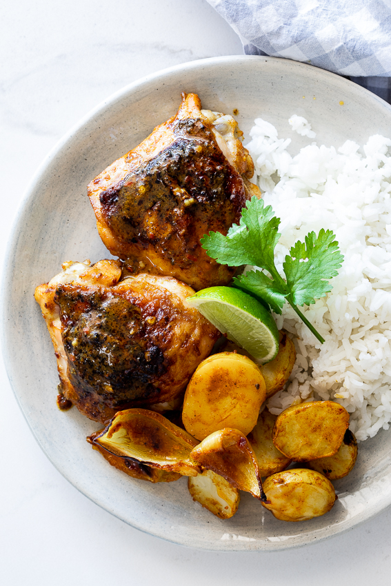 Curried baked chicken thighs