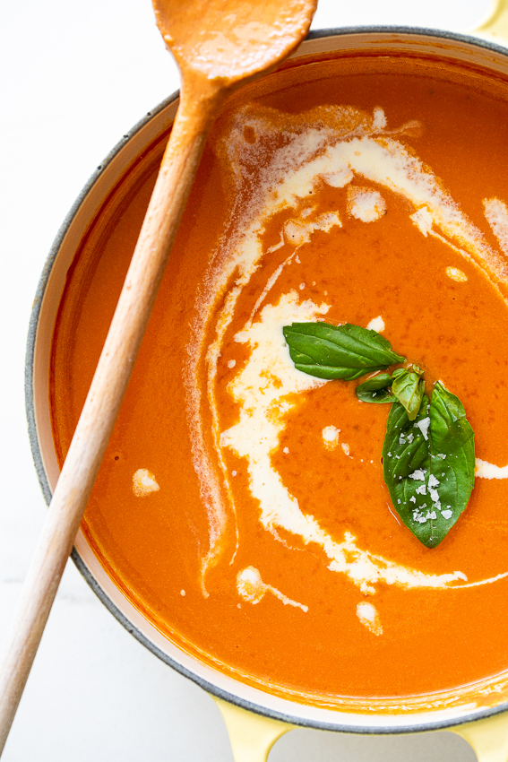 Easy roasted tomato soup with cream and basil.