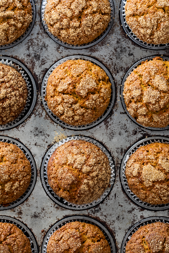 Muffins in tray.