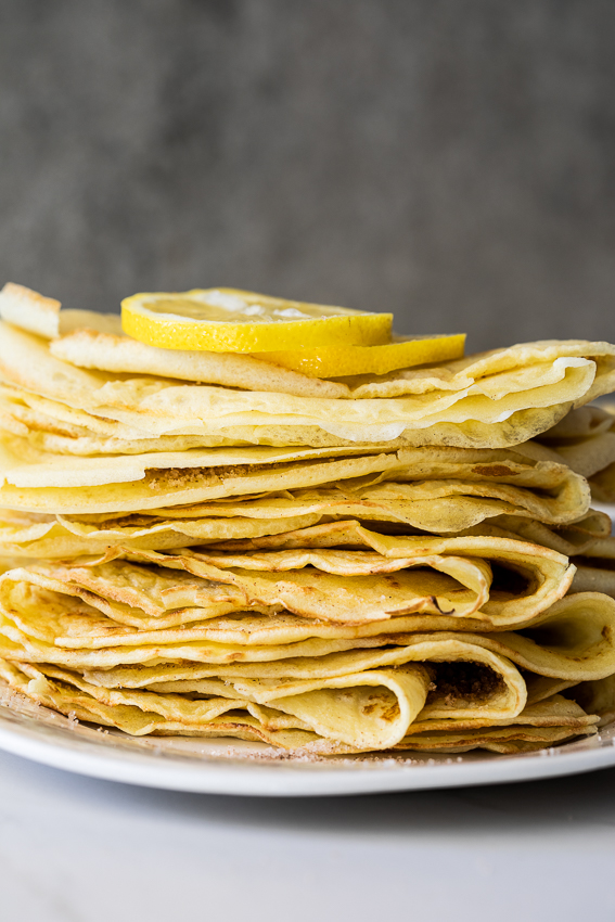 A stack of French crepes.