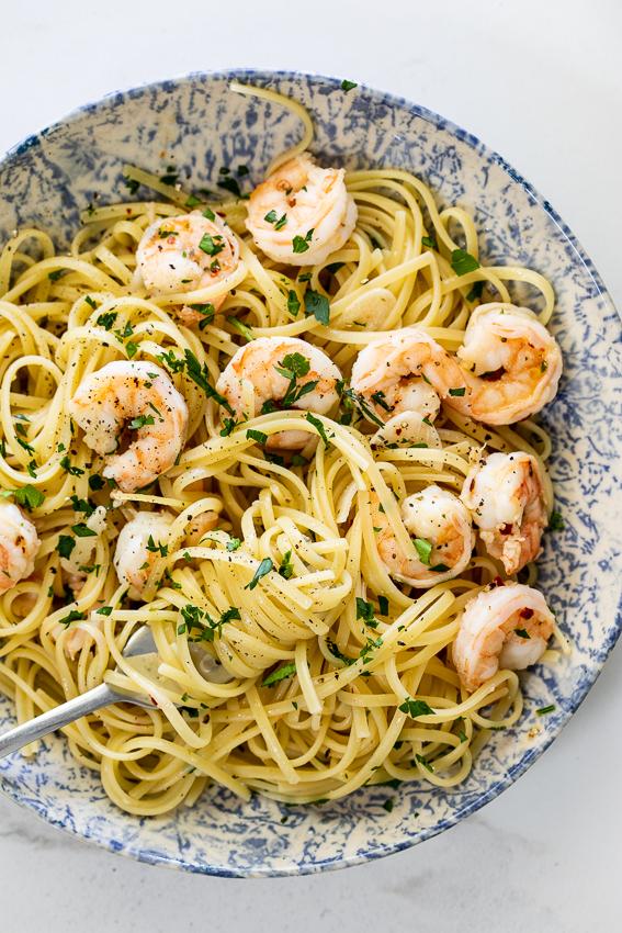 Pasta Aglio e Olio with shrimp