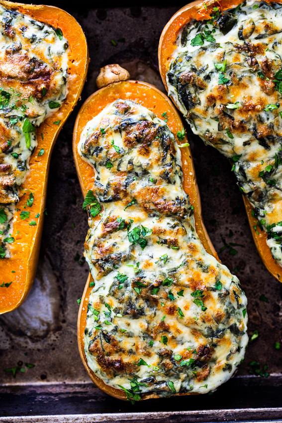 Creamed spinach stuffed butternut squash