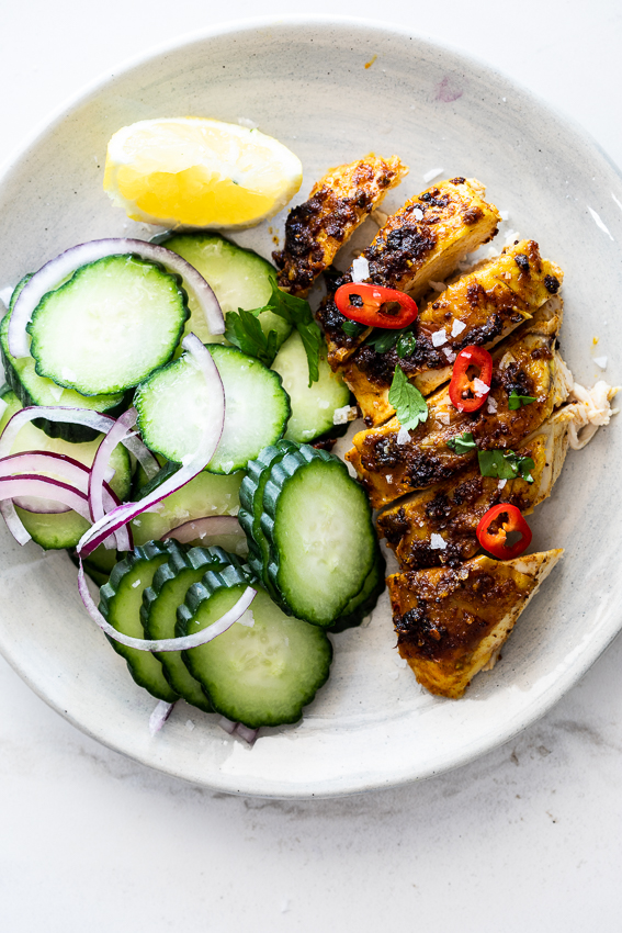 Indian spiced chicken with cucumber salad
