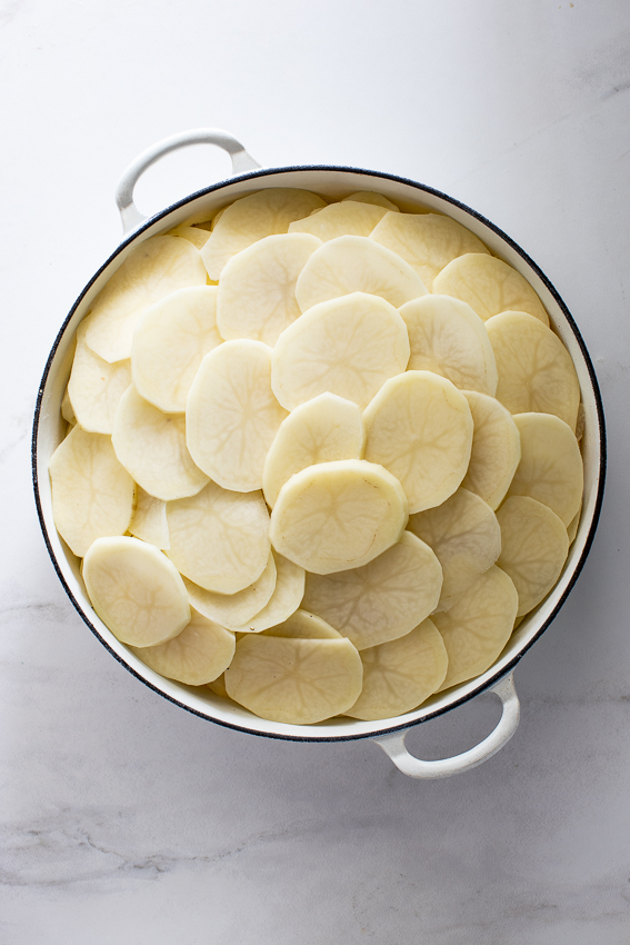 Potatoes layered with cheese, garlic and cream.