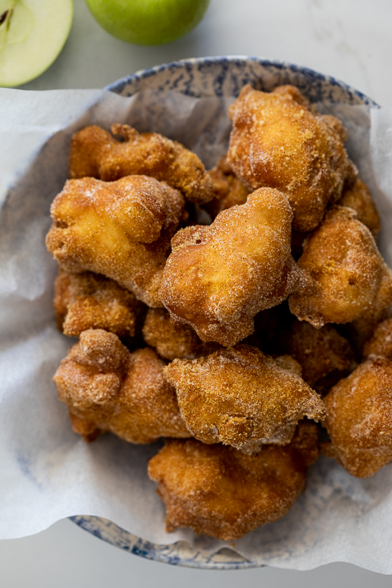 Apple fritters with masala sugar