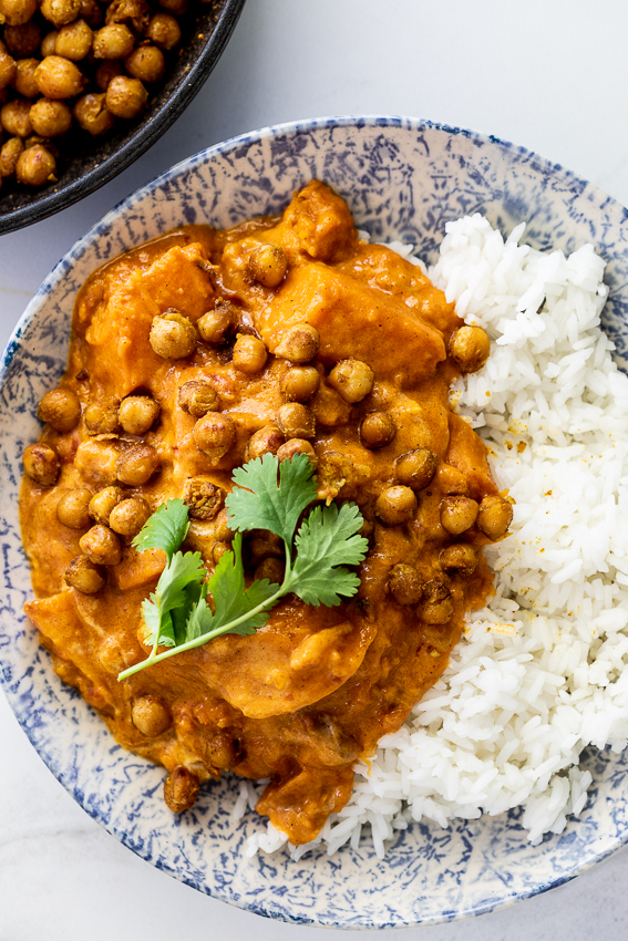 Butternut squash curry with crispy chickpeas and rice.