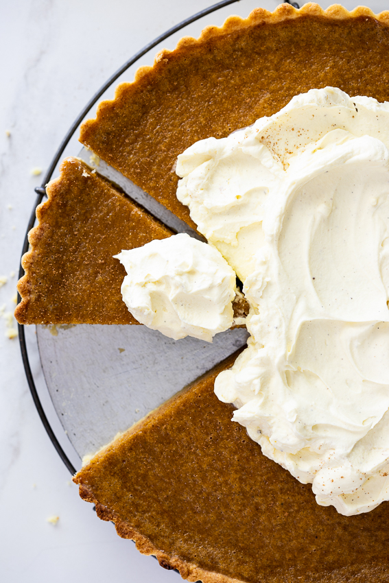 Pumpkin pie with whipped mascarpone