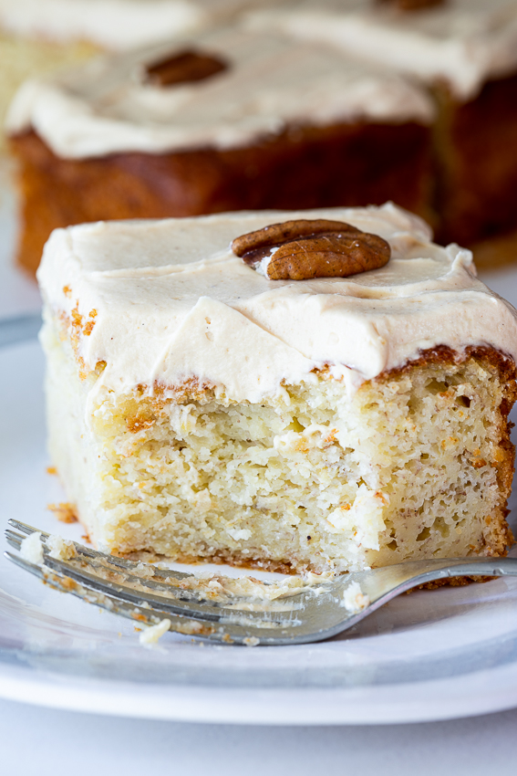 Soft, fluffy banana cake with creamy peanut butter frosting.
