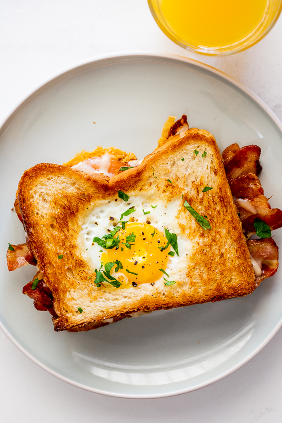 Egg in a hole bacon grilled cheese