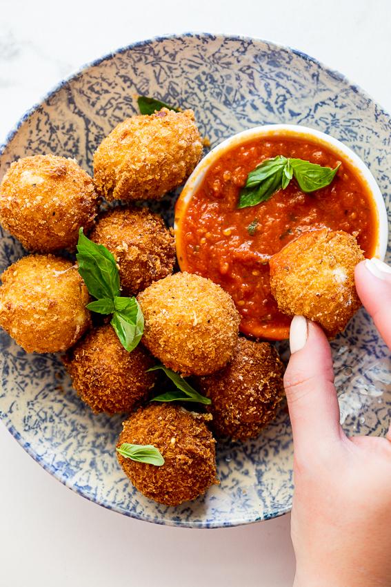 Crispy fried mozzarella with tomato dipping sauce