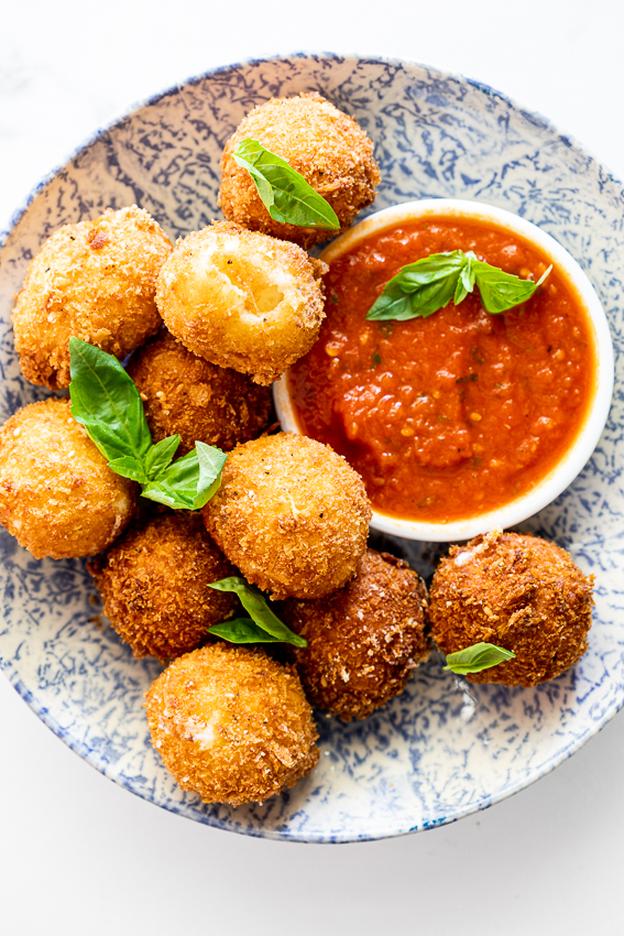 Crispy fried mozzarella with tomato sauce