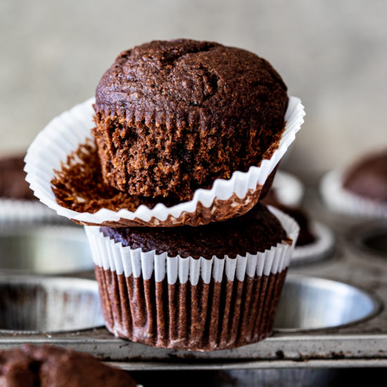 Healthyish double chocolate muffins