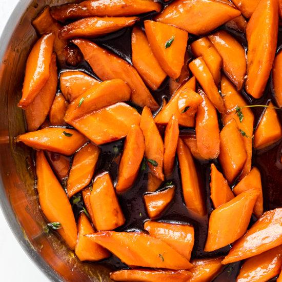 Orange brown sugar glazed carrots