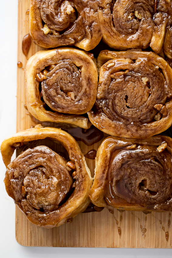 Sticky cinnamon buns with pecans