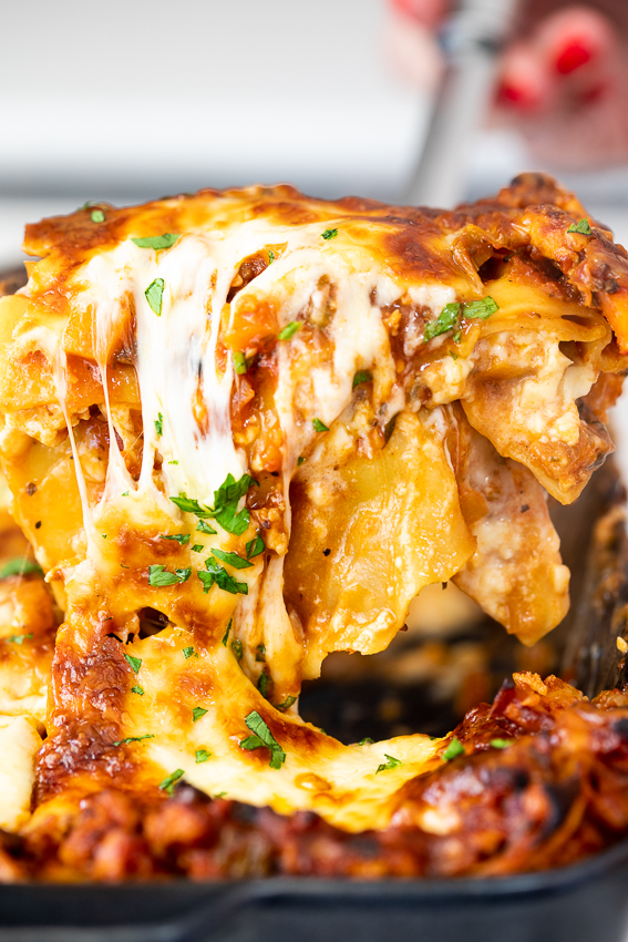 Super cheesy chicken lasagna.