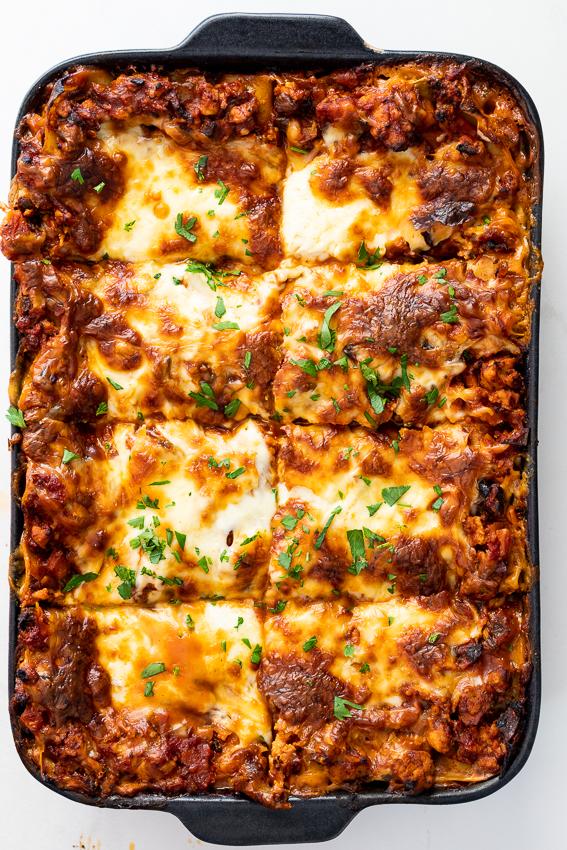 Homemade chicken lasagna.