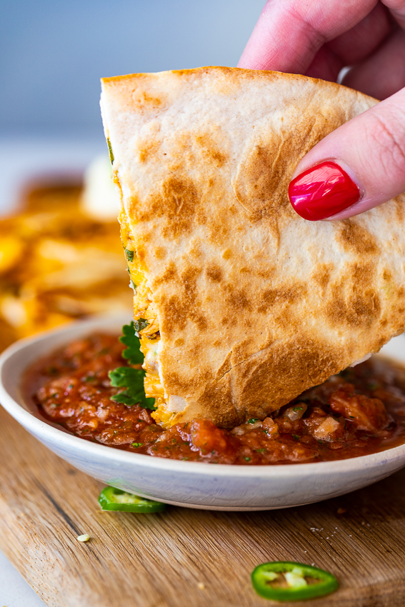 Spicy chicken quesadillas with salsa