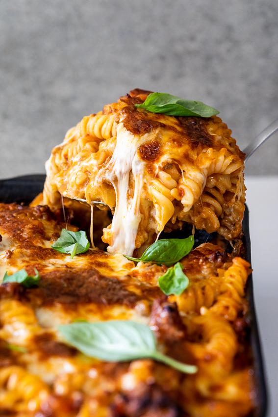 Super cheese Bolognese pasta bake