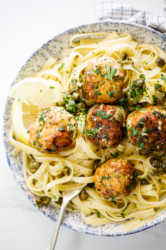 Lemon Chicken piccata meatballs with pasta.