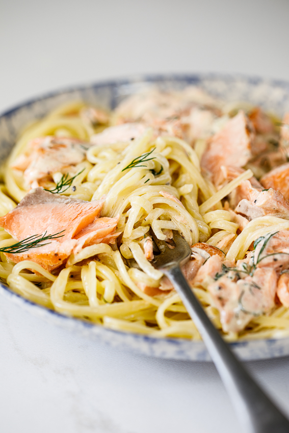 Salmon in a creamy dill sauce on pasta.