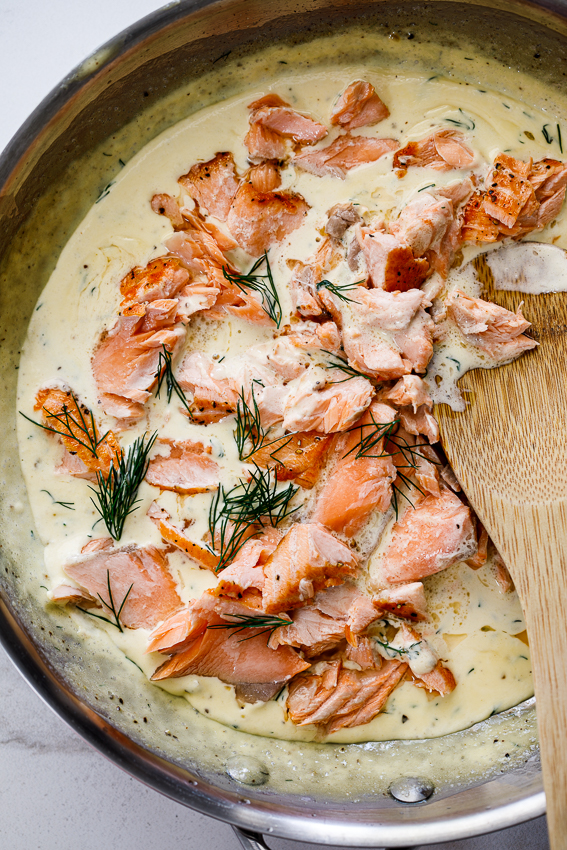 Salmon in a creamy dill sauce.