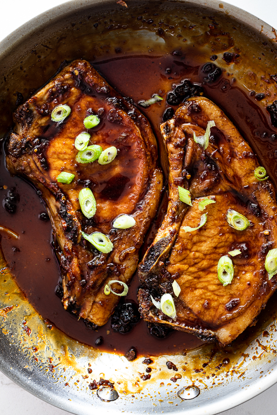 Sticky honey soy pork chops