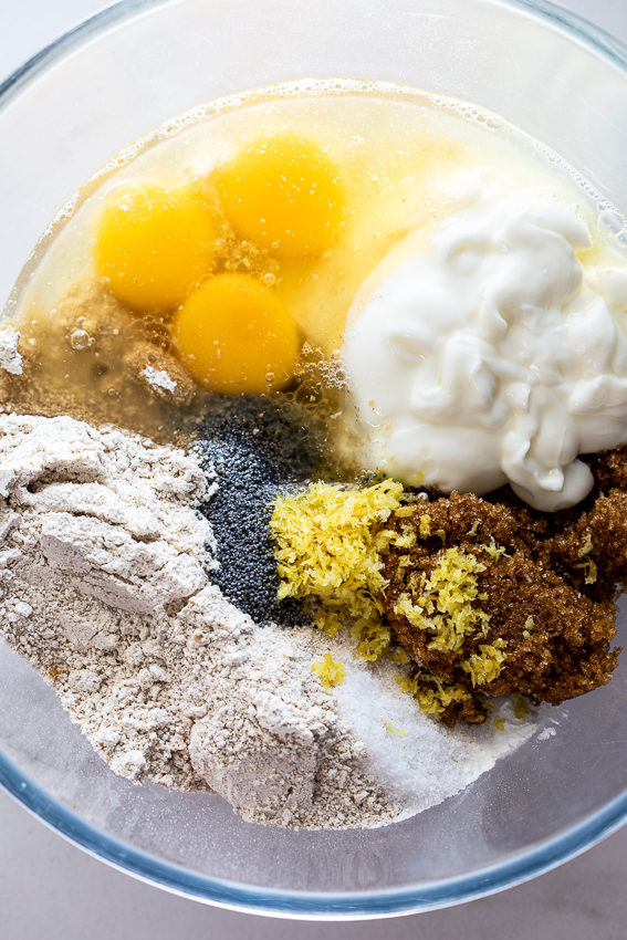Ingredients for lemon poppy seed muffins