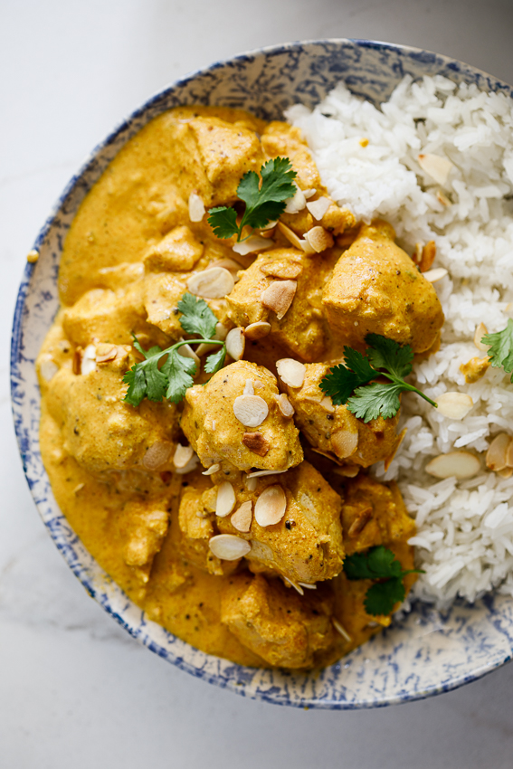 Creamy Mughlai chicken with rice.