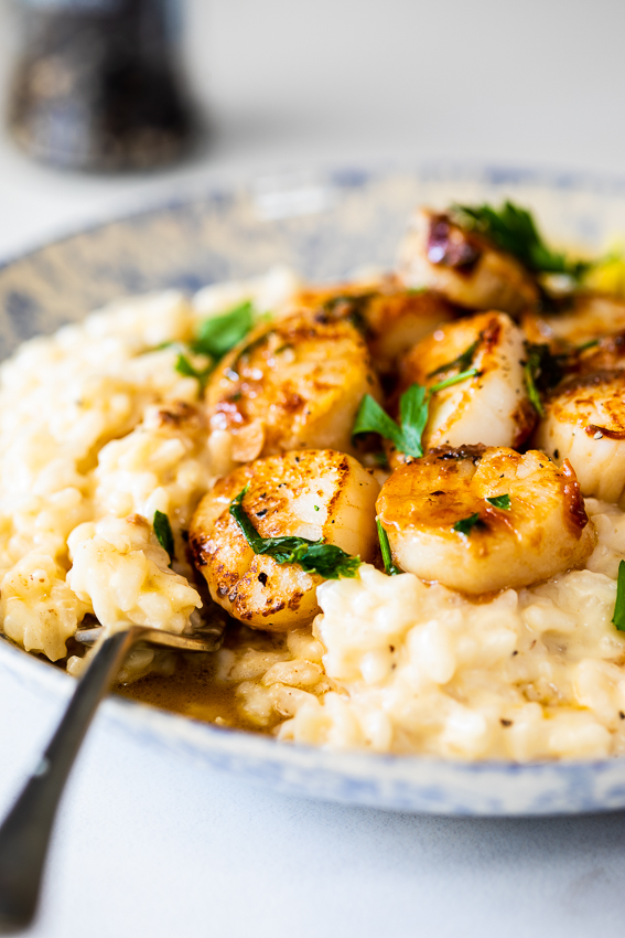 Scallops with creamy risotto.
