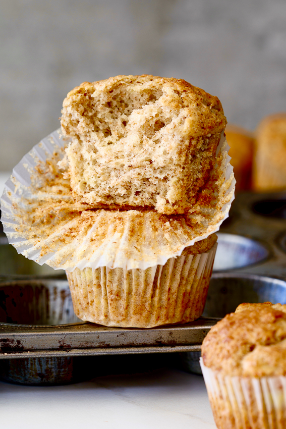 Wholewheat brown sugar cinnamon banana muffins