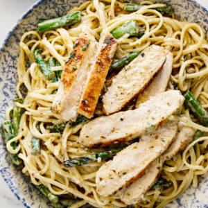 Creamy chicken asparagus pasta