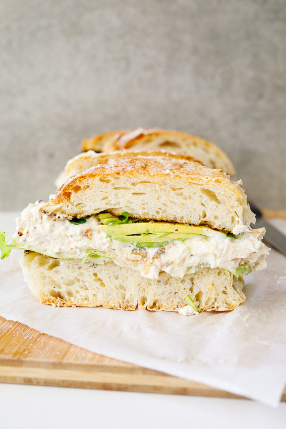 Family-size creamy chicken salad sandwich