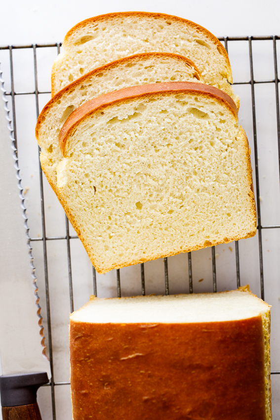 Soft and fluffy white bread.