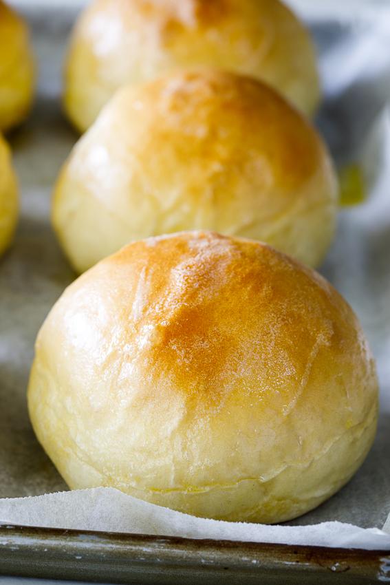 Fluffy white bread rolls.