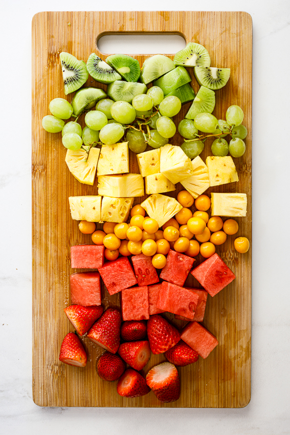 Rainbow fruit platter.