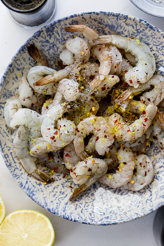 Marinated shrimp with lemon, spices and olive oil.