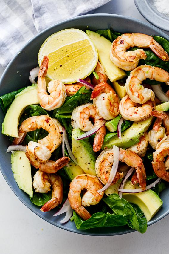 Easy Lemon Shrimp Salad with fresh avocado.