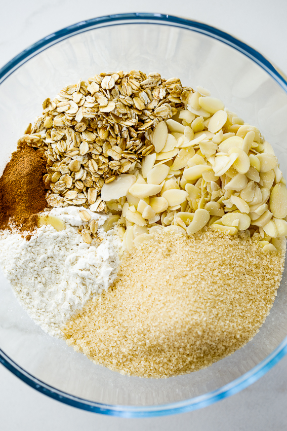 Ingredients for almond crumble.