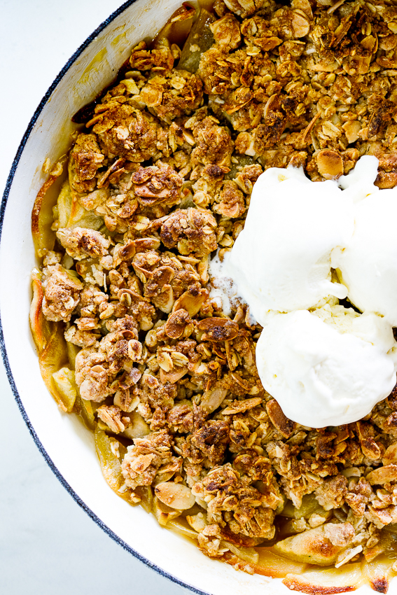 Easy almond apple crumble with ice cream.