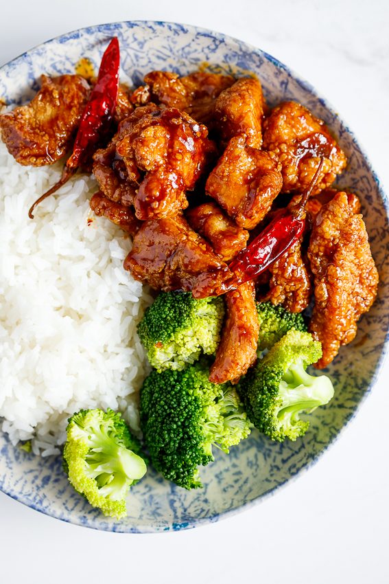 General Tso's chicken with rice and broccoli