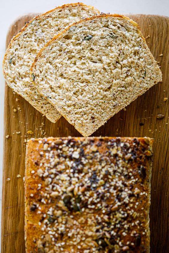 Soft and fluffy healthy sandwich bread.