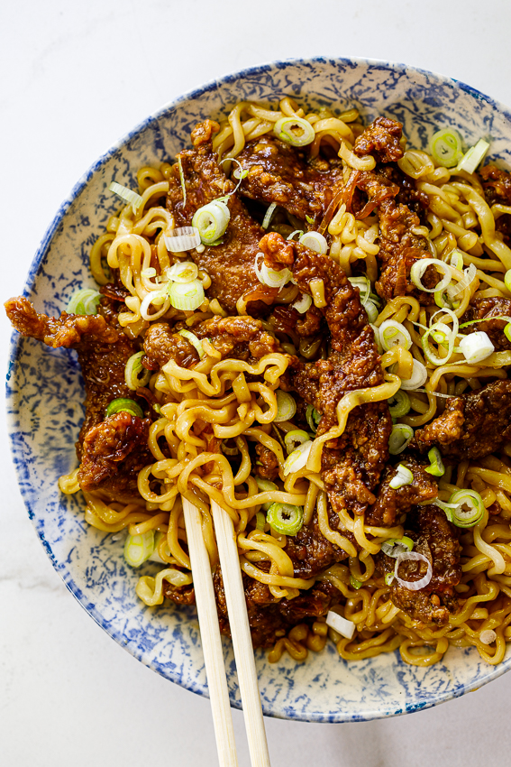 Honey soy crispy beef and noodles