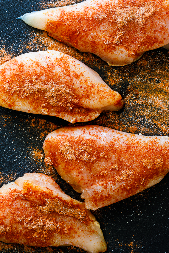 Chicken breasts with dry rub.