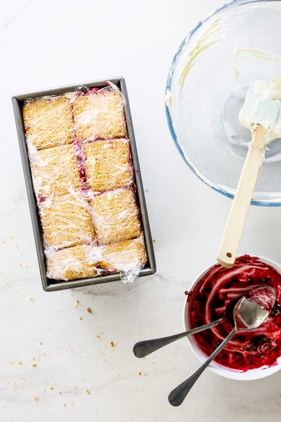 Berry lemon fridge tart layered with cookies.